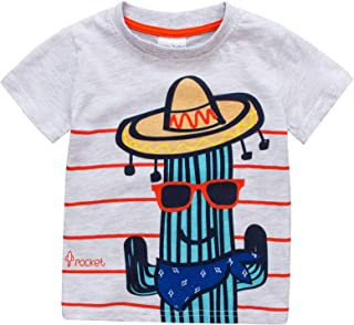 ALLAIBB Babys Boys Summer Shirt Short Sleeve Contrast Color Cotton Tops Cartoon Cactus Pattern Tropical Style Boys Bottoming Shirt Fashion Wild Casual Pure Color Babys Tee(2-7T)