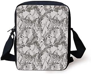 Grey Decor,Abstract Beam with Geometric Six Cornered Mosaic Style Futuristic Artsy Illustration,White Print Kids Crossbody Messenger Bag Purse