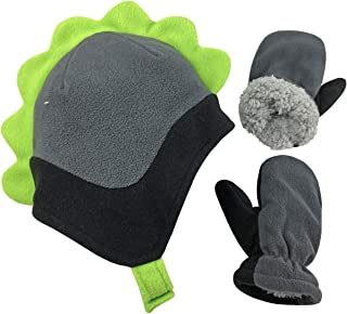 Little Boys and Baby Soft Sherpa Lined Fleece Dino Hat Mitten Set