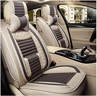 Car Seat Covers, Four Season Universal 5 Seat Full Set Automotive Cushions 11pcs Front and Rear Seat Protector Cushion Compatible Airbags Breathable with Comfort Fiber Hemp (Color : Light Brown)