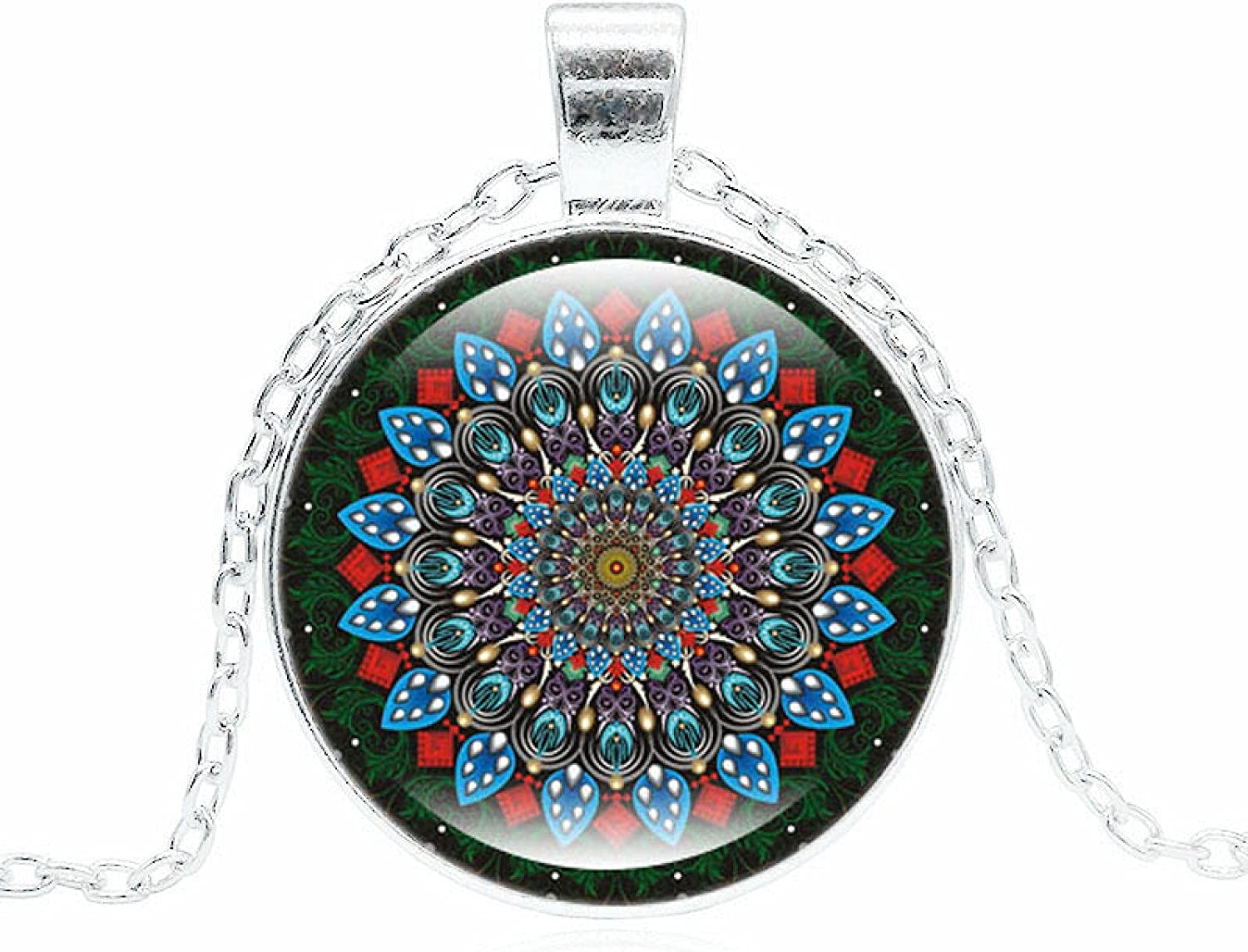 Buddhism Jewelry Max 88% OFF With Silver Plated Flowe Max 83% OFF Cabochon Glass Mandala