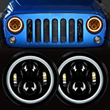 7'' Round Cree LED Headlight with White DRL Halo Ring Angel Eyes+Amber Turn Signal Light For Jeep Wrangler JK TJ CJ DOT Approved