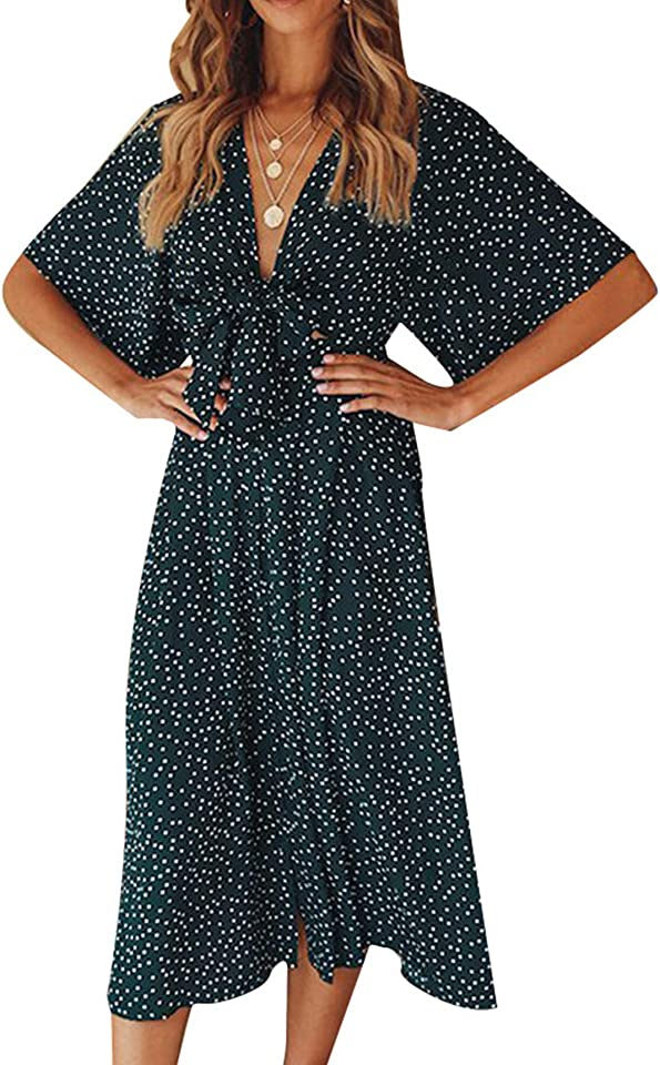 Women's Summer Casual Button Chiffon Short Sleeve Tie Waist Polka Dot Solid Color Beach Shirt Dress