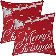 Simhomsen Merry Christmas Throw Pillow Case Cushion Cover (16 × 16 Inch Set of 2)