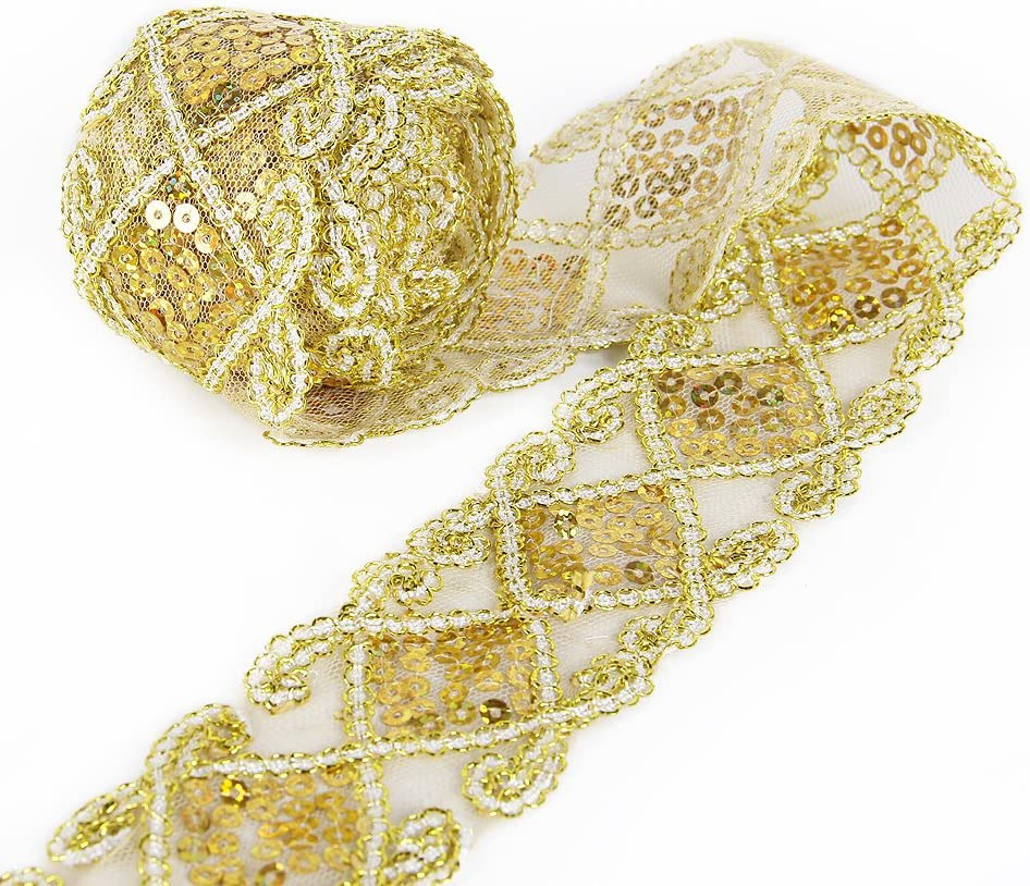 Sequins Lace Mesh Trim Lace Ribbon Applique Sewing Craft Supplies 10 Yards for Clothing Curtain Table Runner Making Decorating (Gold) : Arts, Crafts & Sewing