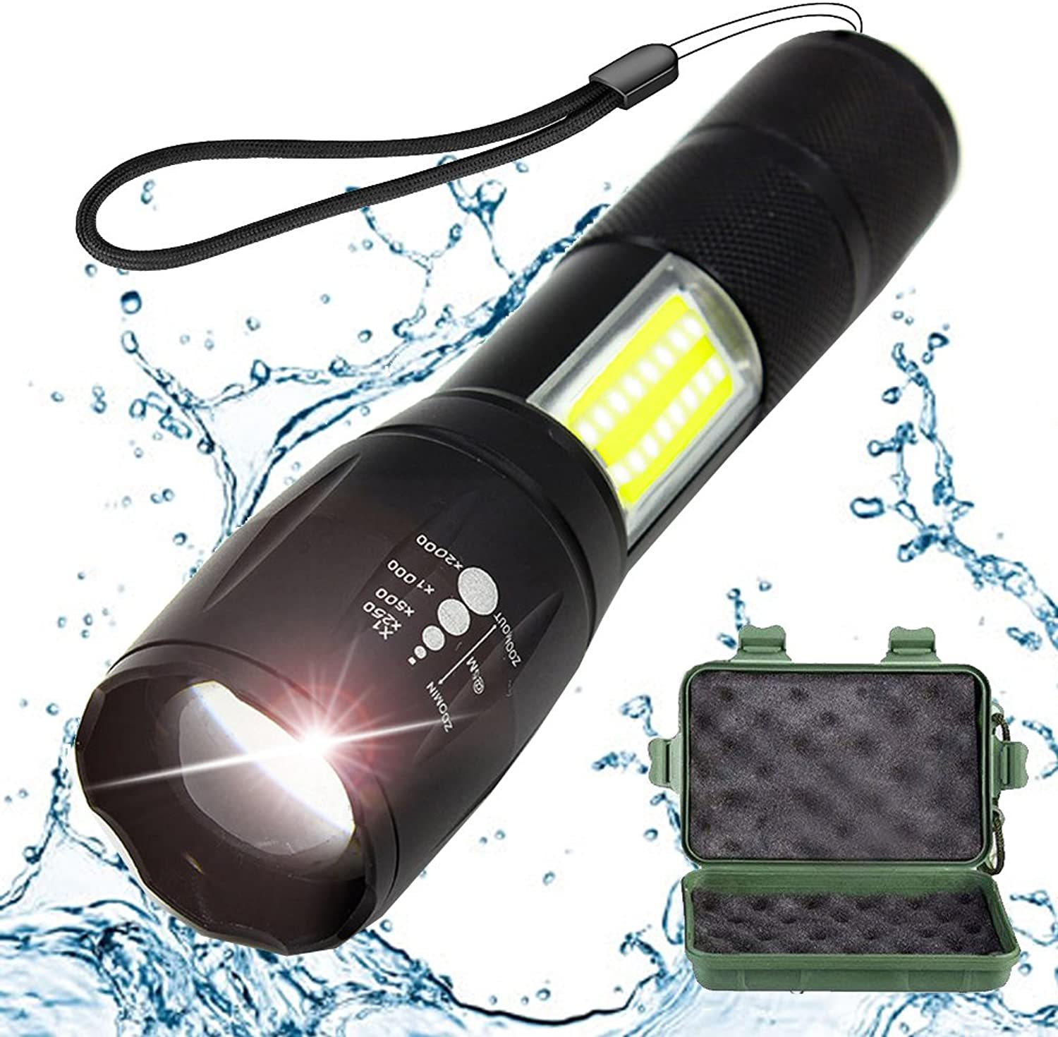 Tactical Flashlight with COB Light - Portable, Zoomable, Water & Shock Resistant, LED TAC Light with 4 Modes 1000 Lumens - Super Bright Torch for Outdoors, Home and Emergency