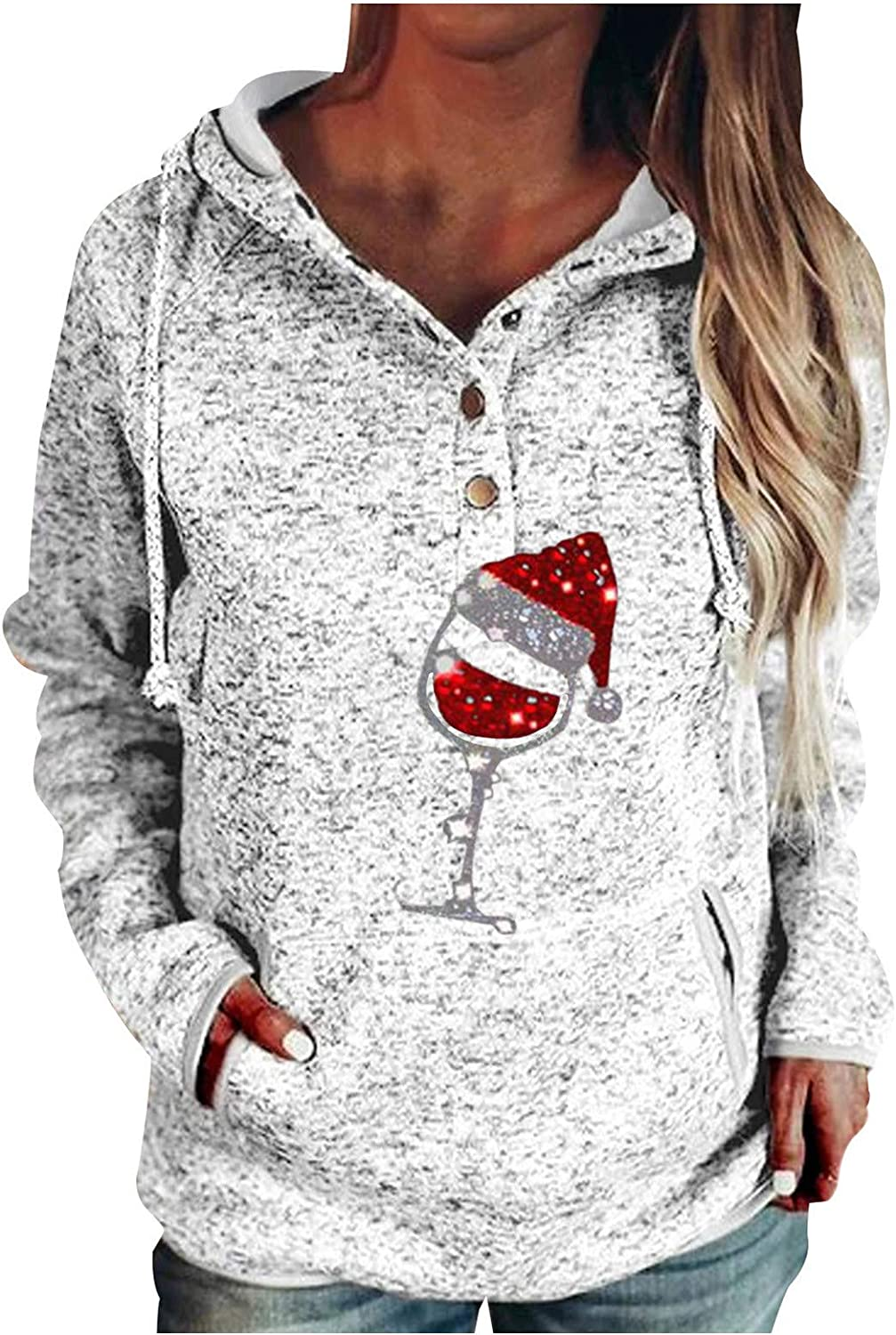 Womens Hoodies Pullover,Women Buttons Collar Christmas Printing Hooded Sweatshirt Pullover Pocket Top