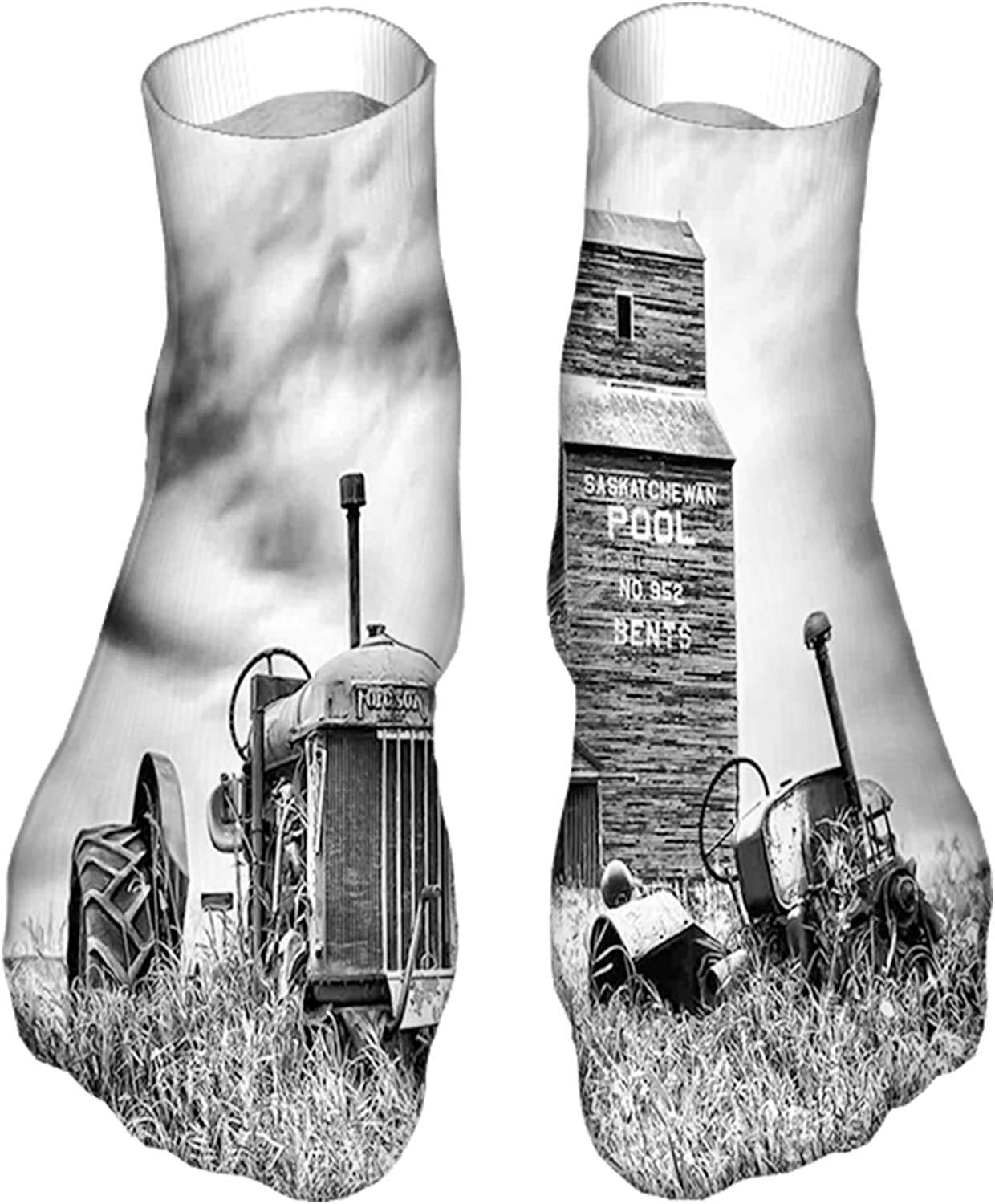 Men's and Women's Funny Casual Socks Old 60s Abandoned Tractor in The Farm in Central Canada Nost