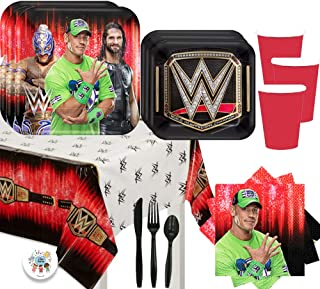 Wrestling WWE Birthday Party Supplies Pack For 16 Guests With Dinner and Dessert WWE Plates, Napkins. Tablecover, Cups, Cu...