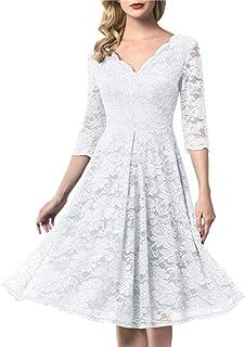 ac07fd6c15 AONOUR Women's Vintage Floral Lace Bridesmaid Dress 3/4 Sleeve Wedding  Party Midi Dress