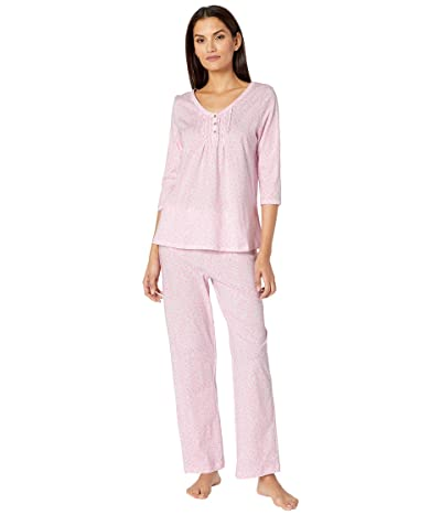 Carole Hochman Soft Jersey 3/4 Sleeve Long Pajama Set (Pink Ditsy) Women