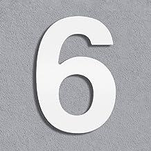Thorwa® modern design roestvrijstalen huisnummer Helvetica, wit gepoedercoat, H: 100mm, RAL 9003 (6)