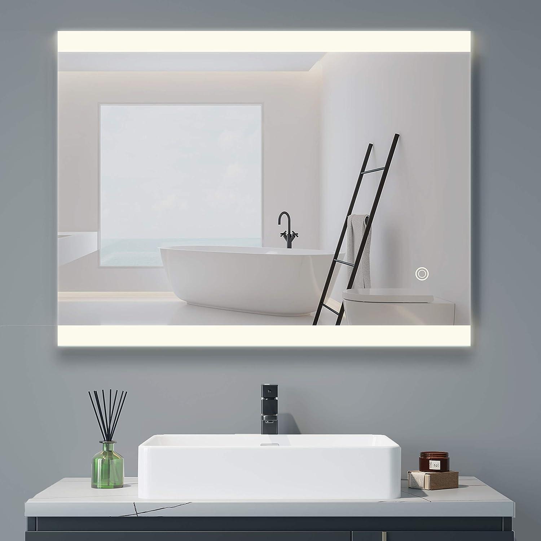 DELAVIN Acrylic Oklahoma Ranking TOP10 City Mall LED Lighted Bathroom Dimmable Defogger Mirror W