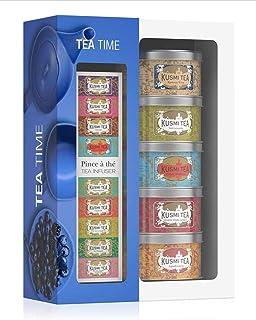 Kusmi Tea Geschenkset Tea Time - 5 Minidosen Aromatee Sortiment  Teezange - Schwarzer Tee, Earl Grey, Grüner Tee und AquaExotica Früchtetee - 5 Metall Teedosen x 25 gr