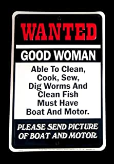 Wanted-Woman Fish Boat&Motor Tin Sign Funny Bar/Pub/Shop Wall Decor Fishing Gift