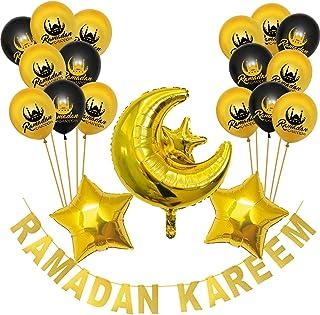 Party Propz Ramadan Kareem decoration kit includes Set of 1 Ramadan kareem Banner + 16 Pcs Ramadan kareem Latex Balloons +...