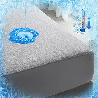 Luxear Ochraniacz na materac, 100 x 200 cm, chłodzący, wodoszczelna nakładka na materac z włóknami chłodzącymi Q-Max 0,43,...
