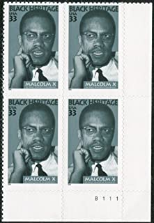 MALCOLM X ~ BLACK HERITAGE #3273 Plate Block of 4 x 33¢ Us Postage Stamps