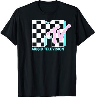 MTV Neon Checkered Logo Graphic T-Shirt