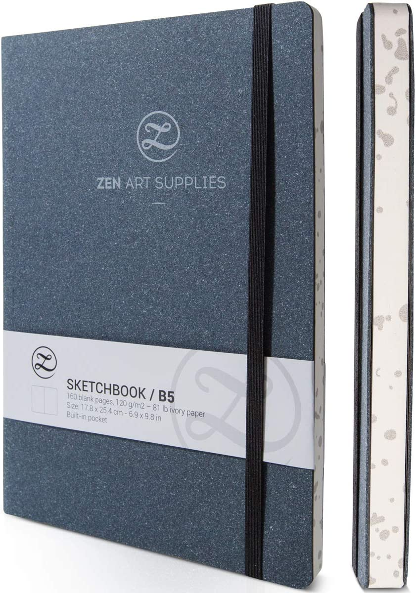 ZenART Sketchbook, Cuaderno de Dibujo para Artistas - 160 Páginas de 120 g Sin Ácidos, Color Marfil – Cuaderno de Cuero Plana y Biodegradable 17,8 X 25,4 cm (B5) para Dibujo en Técnica Mixta, Tinta