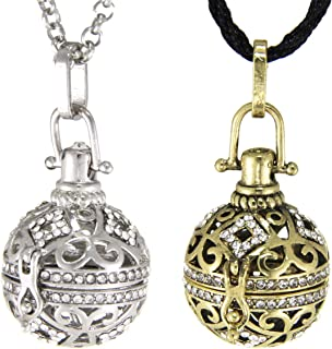 Aromatherapy Essential Oil Diffuser Locket Necklace Vintage Ball Lava Stone Perfume Pendant with Chain(2 Pack)