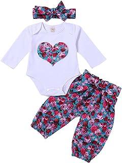 Kobay Baby Mädchenkleidung Set Baby Gilrs Liebes Print Strampler Tops  Hosen  Stirnband 3pcs Floral Set Outfits