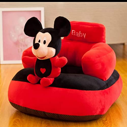Homescape Baby Soft Plush Cushion Baby Sofa Seat Or Rocking Chair for Kids(Use for Baby 0 to 2 Years)-Red and Black(T...