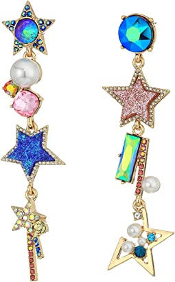 Betsey Johnson - Multicolor and Gold Linear Non-Matching Earrings