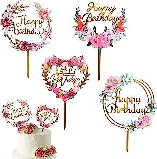 ANYI16 4 Pack Happy Birthday Cake Topper Acrylic Ins Topcake Topper برای تزئینات مختلف کیک جشن تولد