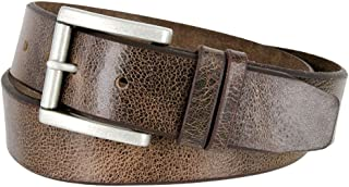 Hagora Men Italian Calfskin Embossed Or Clear 4 Piece Etched Silver Buckle Belt