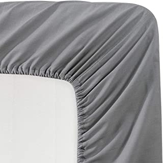 BASIC CHOICE Solid Color Microfiber Deep Pocket Fitted Sheet, Twin, Charcoal