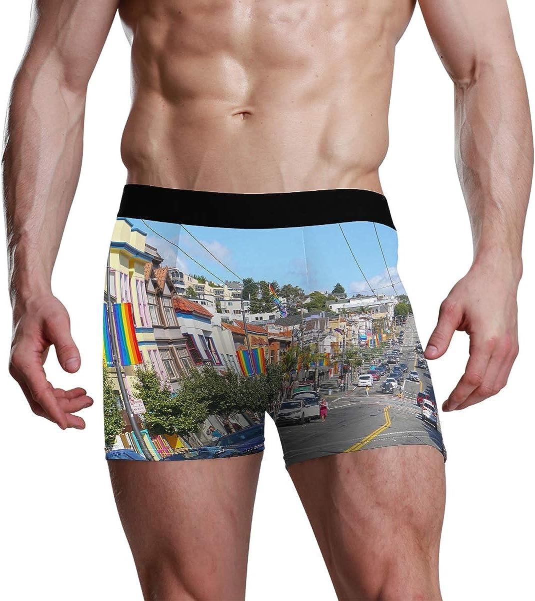 Mens Boxer Briefs San Francisco USA Low Rise Trunks Underwear Breathable Bikini Boys