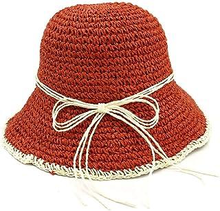 SHENTIANWEI 100% Handmade Women Crochet Straw Sun Hat Floral Sun Hats Summer Beach Folding Lady Casual Caps