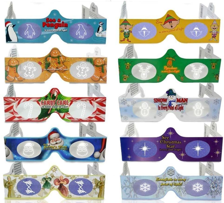Cheap bargain 3D Christmas Glasses - 10 Specs Hologram Holiday online shop Pack