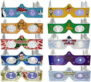 3D Christmas Glasses - 10 Pack - Turn Holiday Lights Into Magical Images for A Fun Christmas Experience. Our Holographic Glasses are Perfect for Entertaining Family, Friends & Colleague