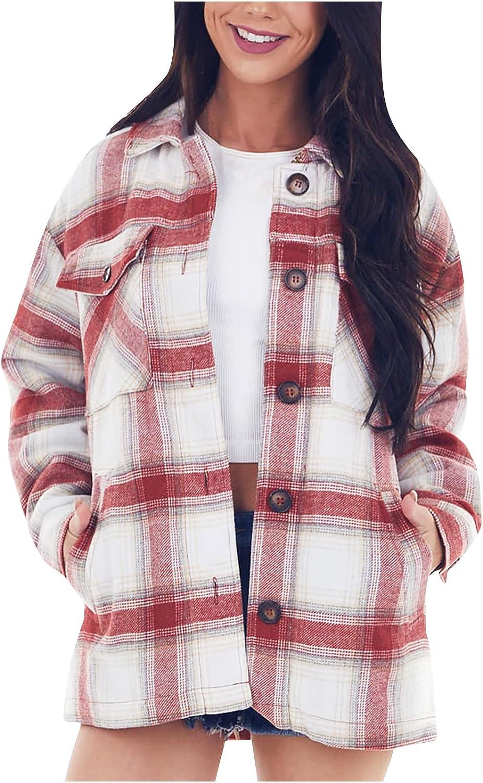 Women Plus Size Plaid Jacket Fleece Wool Cropped Pea Coat Fashion Lapel Single Breasted Pocket Outerwear Warm Cardigan