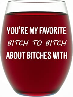Best Friend Gifts For Women, Funny BFF Birthday or Christmas Present For Best Friend Women or Men 15 oz Dishwasher Safe Stemless Wine Glass for Wine Lovers, Unique Friendship Gift