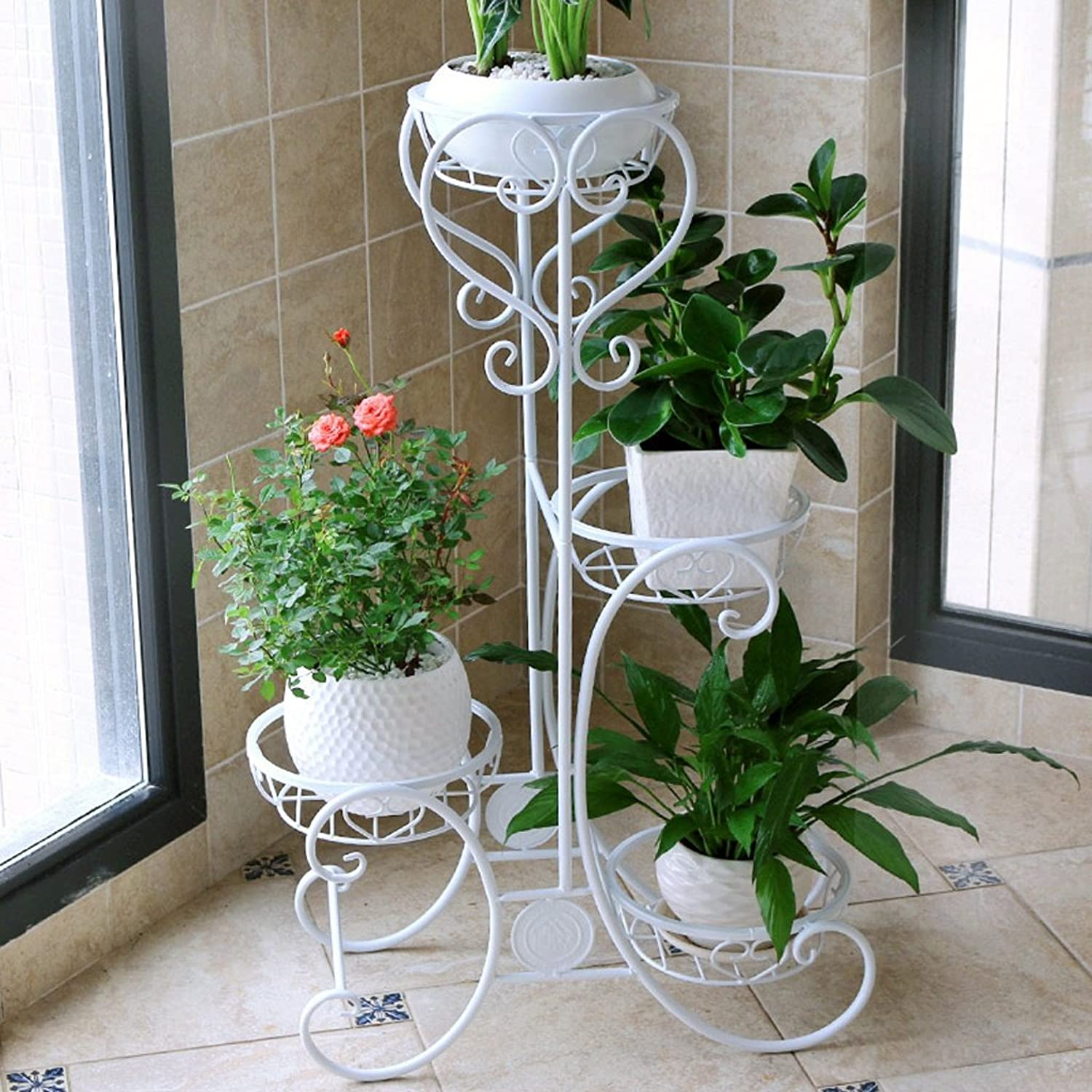 Flower Stand Shelf Multi Storey Metal Painting Flower Pot Frame Iron Indoor Balcony Living Room Plant Display Rack (color   White, Size   492482cm)
