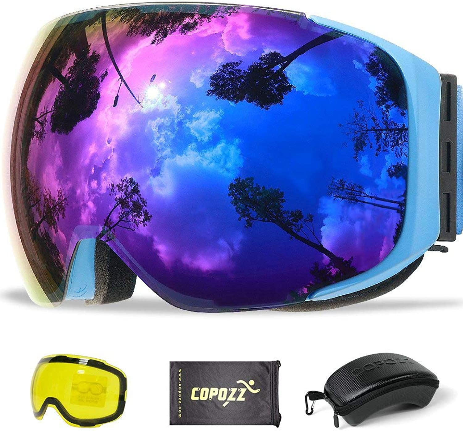 Magnetic Ski Goggles with QuickChange Lens and Case Set 100% UV400 Predection AntiFog Snowboard Goggles for Men & Women