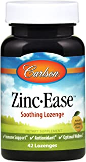 Carlson - Zinc-Ease, Soothing Lozenge, Immune Support & Optimal Wellness, Antioxidant, Lemon, 42 Lozenges