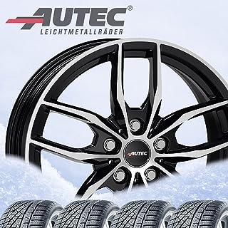 4 complete winterwielen Bavaris 7,5x17 ET 30 5x112 zwart gepolijst met 225/50 R17 98H Michelin Alpin 6 XL M+S 3PMSF