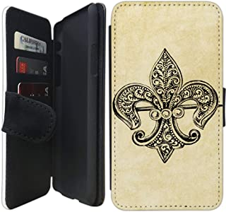 Flip Wallet Case Compatible with iPhone XR (Vintage Teal Fleur de Lis) with Adjustable Stand and 3 Card Holders | Shock Protection | Lightweight | Includes Free Stylus Pen by Innosub