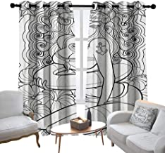 Lewis Coleridge Bathroom Curtains Nautical,Tattoo Coloring Book Style Sexy Pin Up Girl with Hibiscus Flowers Curls and Stars, Black White,Room Darkening Waterproof Curtains for Bathroom 84