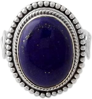 NOVICA Lapis Lazuli .925 Sterling Silver Cocktail Ring, Royal Blue Glow'