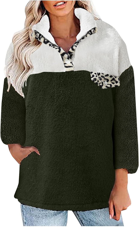 1/4 Zipper Sweatshirt Women Long Sleeve Color Block Sherpa Pullover Tops Lightweight Fleece Hoodies with Pocket