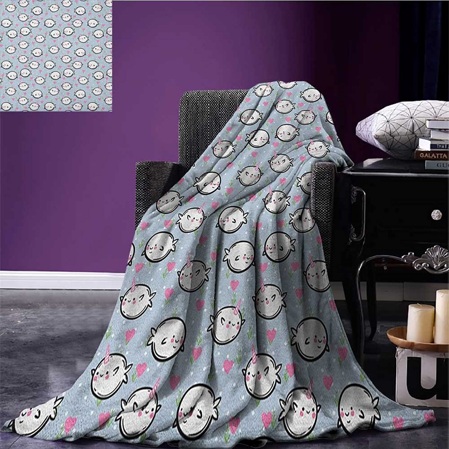 Narwhal Throw Blanket colorful Polka Dotted and Heart Pattern Background with Cartoon Character Whales Miracle Blanket Multicolor Size 59 x35.5