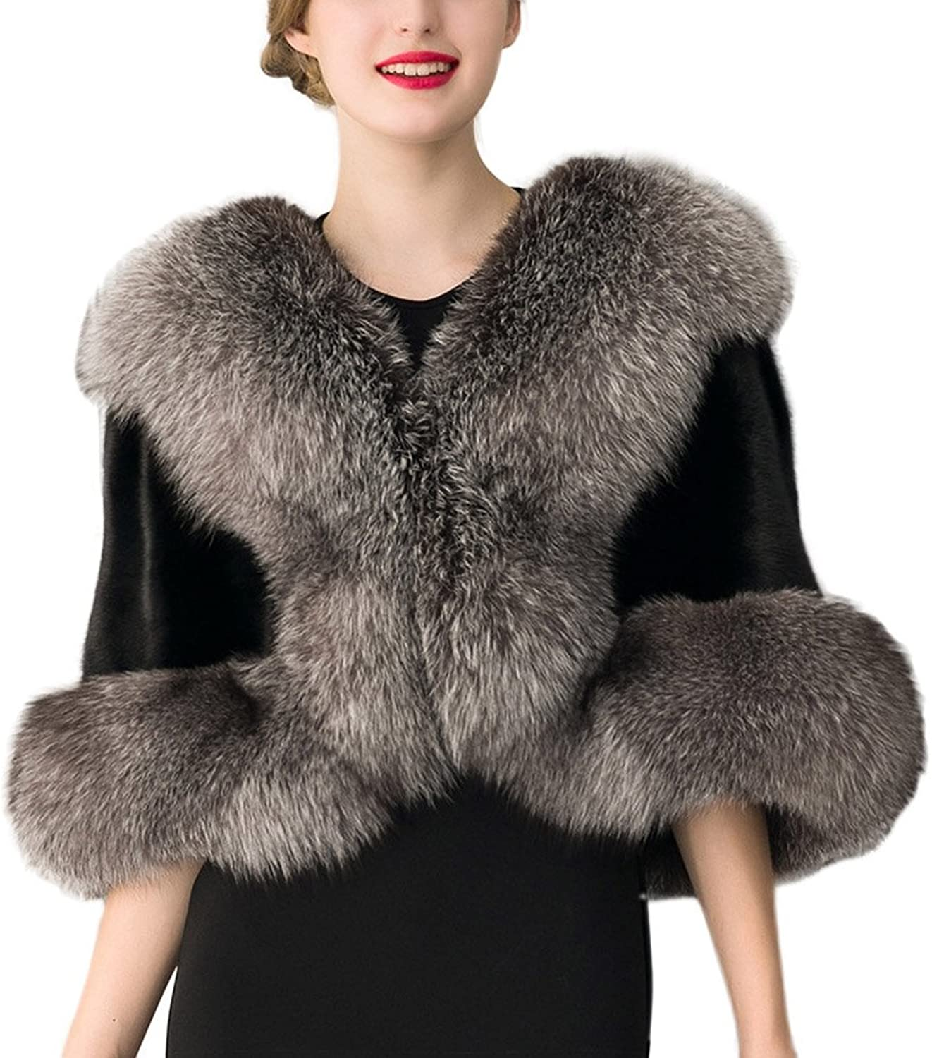 Women Faux Fur Shawl Wrap Stole Shrug Bridal Party Wedding Cover Up