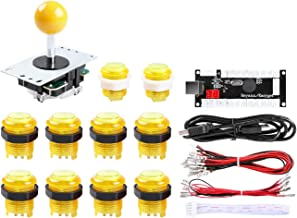 Hikig Arcade DIY LED Kit, Zero Delay USB Encoder + 8 Way Joystick + 5V LED Illuminated Arcade Push Buttons for Raspberry Pi Mame and Other Fighting Games Project (Yellow)