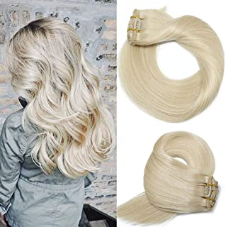 Human Hair Extensions Clip In Blonde New Version Thickened Double Weft Brazilian Hair 120g 7pcs Per Set 9A Remy Hair Full Head Silky Straight 100% Human Hair Clip on Extensions(22 Inch #60)
