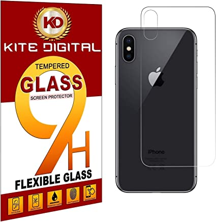 Kite Digital Compatible with IPHONE XS MAX BACK Premium Tempered Glass Screen Protector Slim 9H Hard 2.5D